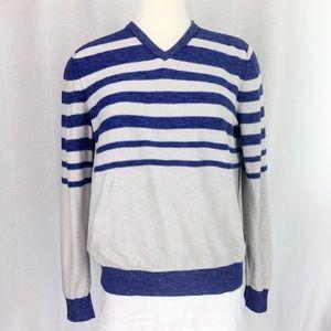 Kenneth Cole Grey Blue Striped V-Neck Pullover M